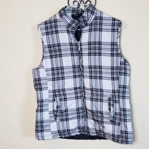 Jane Ashley plaid vest sz m light weight